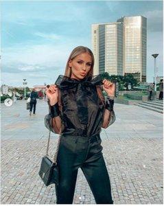 Women Bow Tie Chiffon Shirt Ruffle Casual Long Sleeve Loose Top Office OL Blouse Women's Blouses & Shirts
