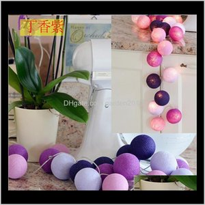 Decorations Colorful Cotton Ball Lights String Christmas Decor Led Latterns Home Garden Fairy Lamp Wedding Patio Party Decoration Lumi Eh0H3
