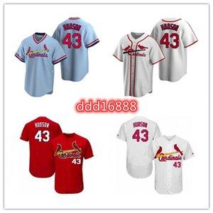 2021 الكاردينال الرجال النساء الشباب 43 داكوتا هدسون مخصص البيسبول جيرسي فارغة نسخة بديلة أزرق أبيض رمادي
