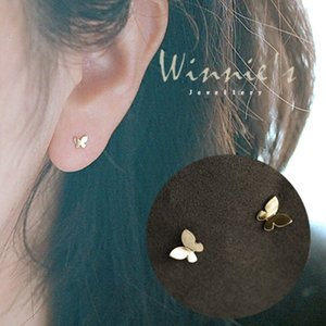 925 Sterling Silver Plating 14k Gold Simple Shiny Glossy Butterfly Earrings Women Korean Sweet Student Jewelry Accessories