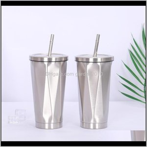Bottles Diamond Shaped Coffee Mugs Portable Drinking Cups Stainless Steel Thermos Tumbler Cup Vacuum Flask Thermo Water Bottle Tea Mug G0Q37