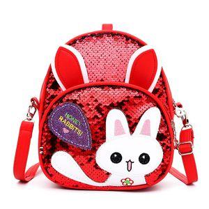 Lantejoulas Cartoon Rabbit Backpack Crianças Aluno Mel Adorável Moda Ombros Bolsa Acessórios Criança Acessórios Comprimento Ajustável 12 5dz N2