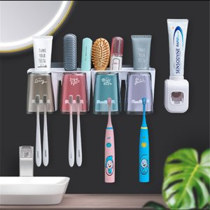 Automatic Toothpaste Dispenser Wall Mount Dust-Proof Toothbrush Holder Punch-Free Suspension Bathroom Storage Box Mouth Cup Suit