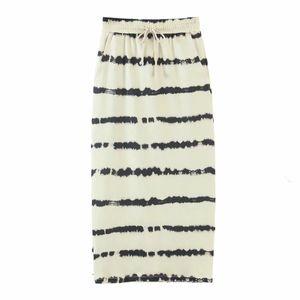 ZA Women Striped Hit Color Cotton Casual Skirt Spring Elegant Retro Print Leisure Wild Party Summer Autumn Skirts 210521