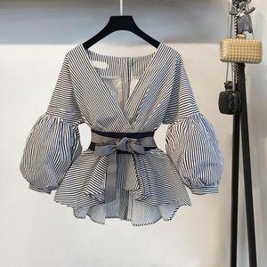 Lantern Sleeve Blouse Shirt Women 2021 Fashion Korean Style Summer Bow V-neck Striped Elegant Ladies Tops Female Clothing Women's Blouses &