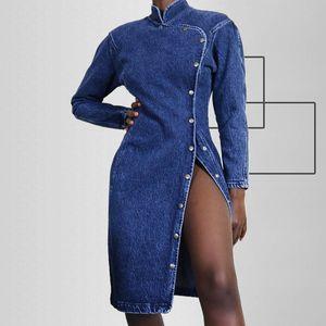 Джинсовые дизайнерские женские платья уличные стиль промытый повседневная кнопка сексуальная тонкий сплит стенд воротник с длинными рукавами платья мода женские платья