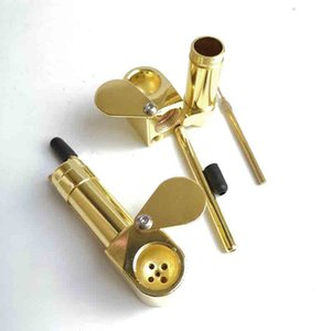 Brass Proto Pipe Metal Smoking Pipes Tool Tobacco Cigarette Hand Dry Filter Spoon Accessories Vaporizer Oil Rigs Hidden Bowl
