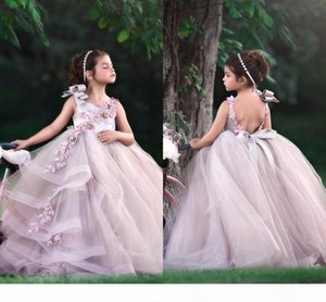 Little Baby Flower Girls Dresses Jewel Neck Open Back A Line Tulle Long Kids Formal Wear With Lace Appliques Birthday Gowns BC2277