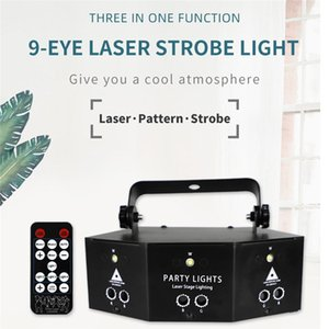 9-Eye Laser Lighting Disco Lamp Stages Projection Lights RGB Voice Remote Control Light Partys KTV Lamps Party Holiday Christmas Stage Decor