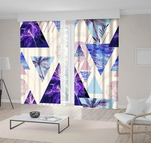 Curtain & Drapes Circles Triangles With Palm Tree Leaf Marble Bright Beach Theme Vintage Style Artwork Blue Purple Beige
