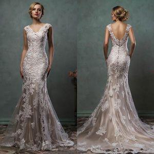 Vintage Amelia Sposa volle Spitze Applikationen Meerjungfrau Brautkleider 2021 V-Ausschnitt Kapelle Zug plus Größe Braut Party Kleider