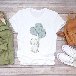 Women Cartoon Tops 90s Balloon Elephant Korean Clothes Lady T shirts Top Womens Shirt Ladies Graphic Female Tee