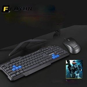 Keyboard Mouse Combos Fuyun проводной игровой комплект компьютер механические ощущения клавиатуры PC игра Gamer 104 ключей клавиатуры N40