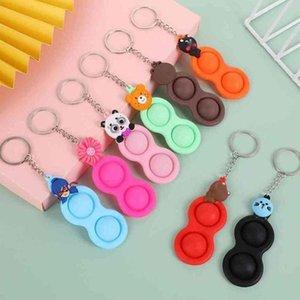 Детские игрушки для игрушек пальцем толчок пузырь игрушка силиконовые брелок мультфильм животных выпечатавания выпечатавания пионерские брелки металлические ключей кольцо reverever рельеф