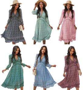 DHL Ship Mujeres gasa vestido largo estampado floral linterna manga a-line maxi vestidos otoño elegante vintage v vestidos de cuello 030405