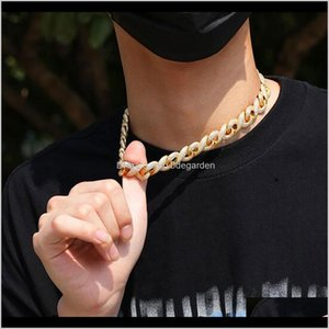 Chains Gold 15Mm Infinity Link Chain Iced Necklace Bracelet Pave Cubic Zirconia Jewelry Cuban Choker 16Inch24Inch Gs7Fl Wmj5O