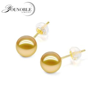Top Quality Anti Allérgica Real 18k Sólido Amarelo Brincos Gold Girl, Real Anniversary Rodada Sul Pearl Pearl Stud