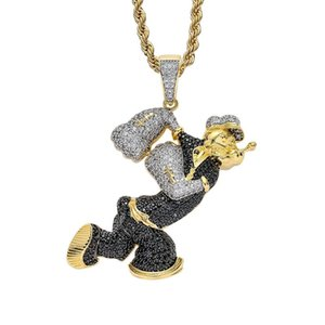 펜던트 목걸이 힙합 Popeye 14K 진짜 금 도금 거리 래퍼 쥬얼리 목걸이 선물을 가진 입방품을 입은 큐빅 지르콘