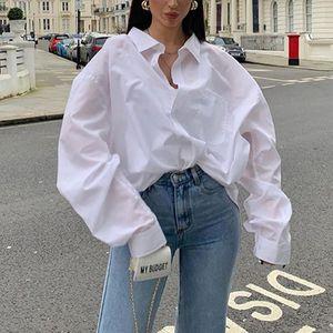 Women's Blouses & Shirts Ladies Vintage Spring Autumn Long Loose Blouse Shirt Women Elegant White Button Casual Office Oversized Tops Blusas