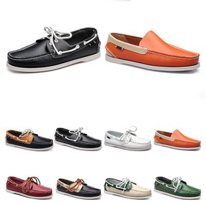 147 Mens casual shoes leather British style black white brown green yellow red fashion outdoor comfortable breathable