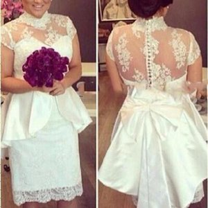 Short Wedding Dresses High Neck Bridal Gown 2021 Lace Applique Cap Sleeves Sheath Peplum Knee Length Custom Made Plus Size vestidos de novia