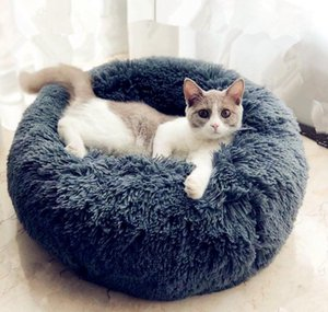 Beds Furniture Pet Supplies Home & Garden Drop Delivery 2021 Round Cat House Soft Long Plush For Small Dogs Cats Nest Winter Warm Sleeping Be