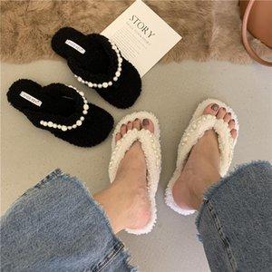 Slippers Chic Handmade String Bead Fur Flip Flops Women Winter Shoes Woman Warm Plush Slides Pearl Clip Toe Fleeces Slipper Female 2021