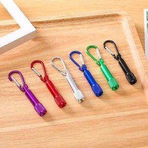 6 colori Portatile LED Torcia a catena per chiave di alluminio Torcia in lega di alluminio Torciali con moschettone Portachiavi Portachiavi Regali