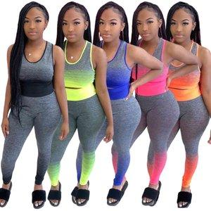 الصيف المرأة رياضية مصمم التدرج اللون الرياضة الركض 2pieces مجموعة النساء اليوغا دعوى سترة و بانت قطعتين مجموعة S-2XL