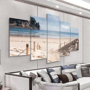 Unframed 5pcs Modern Landscape Wall Art Decoração de Casa Pintura Canvas Pintura fotos Mar Cenário com praia (sem moldura) 625 S2