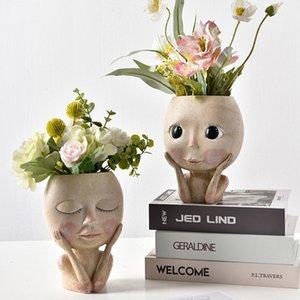 W&G Nordic Home Decor Ins Hand-painted Girl Vase Desktop Portrait Sculpture Flower Pot Room Decoration