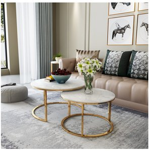 Nordic Light luxury net red marble living room tea table simple modern small family metal iron round combination