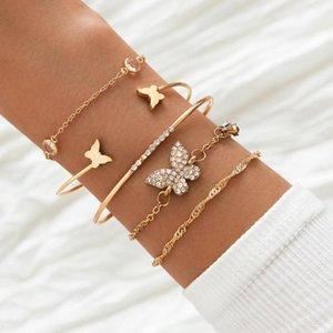 Yo Bohemian Rhinestone Butterfly Bracelets Elegant For Women Gold Color Chain Bracelet Sets Vintage Boho Jewelry Link,