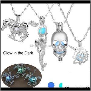 Ожерелья светящиеся светящиеся в темноте ожерелье Sier лошадь русалка череп кулонные медальщики цепные женские мода ювелирные изделия будут и песчаные 1С xe3Ж