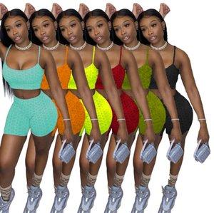 6 colori Estate Donne Tracksuits Due pezzi Breve set Yoga Abiti da yoga Sexy Brependers Top Pantaloncini da jogging Suits Plus Size