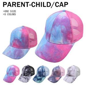 Родитель-ребенок бейсбольная шляпа взрослый детский галстук-краска шарики лето открытый солнце шляпы путешествия мода wmq1216
