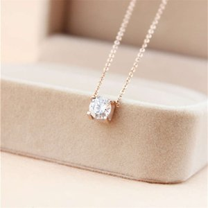 316L Titanium steel pendant necklace with Super Cute Lucky One big square diamond for women wedding gift Jewelry PS5032