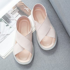 2021 Sommer-Fee-Sandalen-Sandalen für weibliche Studenten-flache legige rutschfeste weiche untere flache Schuhe für schwangere Frauen All-Match-Flut