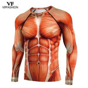 VIP 패션 라글란 슬리브 애니메이션 3D 인쇄 된 슈퍼 히어로 공격 Titans 긴 소매 운동 배틀 정장 압축 셔츠 210409