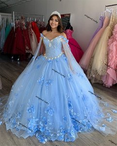 Sky Blue Ball Gown Quinceanera Dresses with Dechable cape Sleeves Sweetheart Tulle Lace Applique Sweet 16 Dress Party Wear