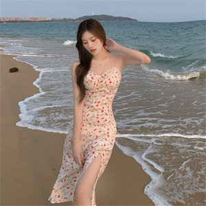 summer new 2021 French floral pearl suspender dress mid length split care skirt 0OS5