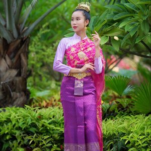 Myanmar Laos Dai Princess Dress Thai Outfit women coffee Color welcome work Wear Thailand Water Splashing Festival Holidays Costume