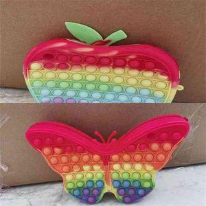 20CM Large Apple Butterfly Cartoon Fidget Toy Popet Bubble Bags Silicone Handbag Kids Girls Push Pop Board Game Tote Crossbody Purses Christmas Gift G98ORER