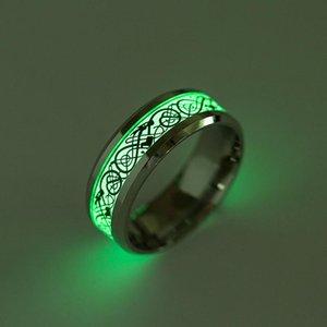 Anello di gioielli ornamento ex anello titanio luminoso drago modello fluorescente sfera fluorescente anelli di creazione di fidanzamento
