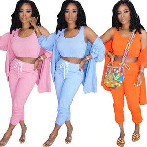 Diseñador Mujeres Tres piezas Set Trajes Sólido Color Slim Chaleco y Chaqueta Pantalones largos Trajes 3 Color Discoteca Damas Ropa Casual
