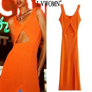 Casual Dresses LVWOMN 2021 Orange Knitted Long Dress Women Sexy Cut Out Strap Woman Summer Sleeveless V Neck Bodycon Sundresses