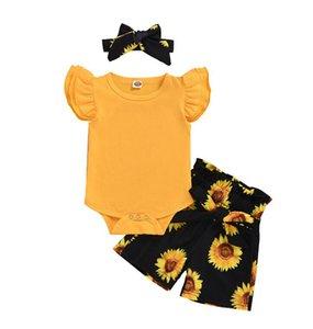 Summer Girls Clothing Sets Plain T-shirt Romper Sunflower Shorts Kids Clothes For Baby Girl Set