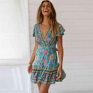 FactoryMHX6women's V-neck short sleeve cardigan bandage Bohemian Genuine print dress beach skirt
