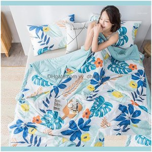 Comforters Sets Supplies Textiles Home & Gardenfloral Print Patchwork Comforter Bedspread Soft Comfortable Quilted Bed Throw Blanket Er Wash