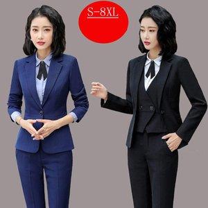Women's Suits & Blazers Female Blue Black Formal Pants Suit Office Lady Blazer And Set For Women Fashion Oversized Suite Plus Size 5XL 6XL 7